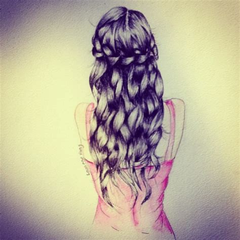 bow in her hair and rear view beautiful braid drawing girl image 740125 on favim com