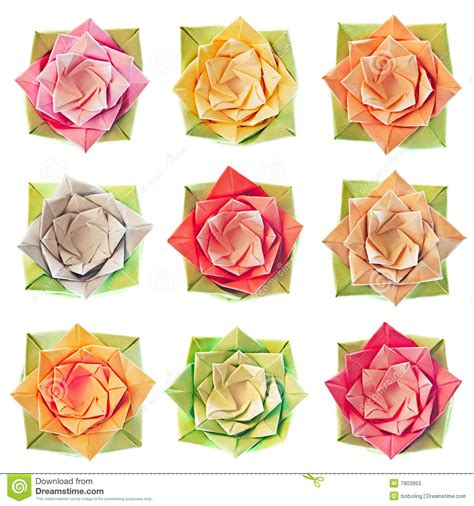 Origami Flower Pattern - origami flower pattern stock photos image 7903953
