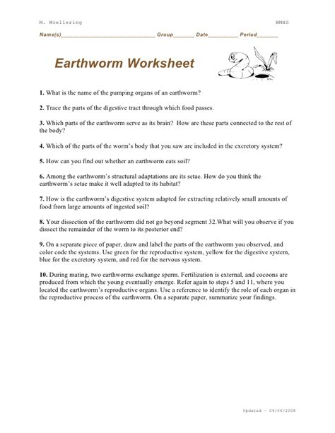 earthworm dissection answers earthworm dissection worksheet