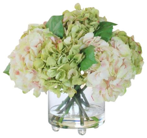 Artificial Flowers In Vase by Hydrangea In Glass Vase Flower Arrangement Traditional