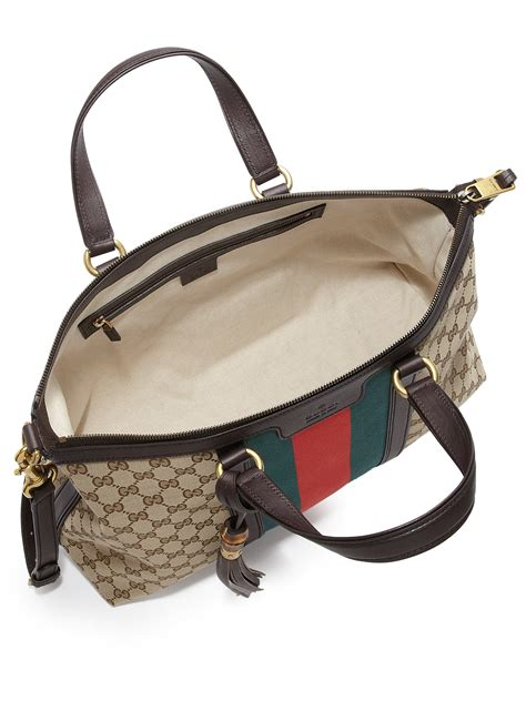 Tas Ck Tote Top Handle Original lyst gucci rania original gg canvas medium top handle bag