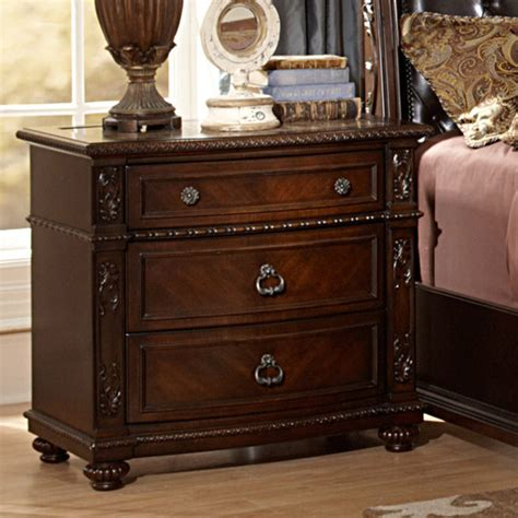 Best Nightstands Oakmont Manor Cherry Traditional 3 Drawer Marble Top