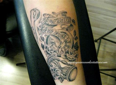 tattoo ideas time quot times waits for no one quot pocket watch with roses and hour