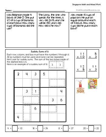 Singapore Math Third Grade Freeeducationalresources Com