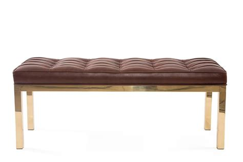 brown leather bench chocolate brown leather and brass bench for sale at 1stdibs