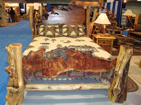 Log Wood Bed Frames Rustic Beds Live Edge Burl Wood Slab Bed