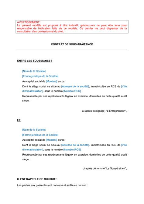 Modele Contrat Sous Traitant model 233 de contrat de sous traitance doc pdf page 1 sur 8