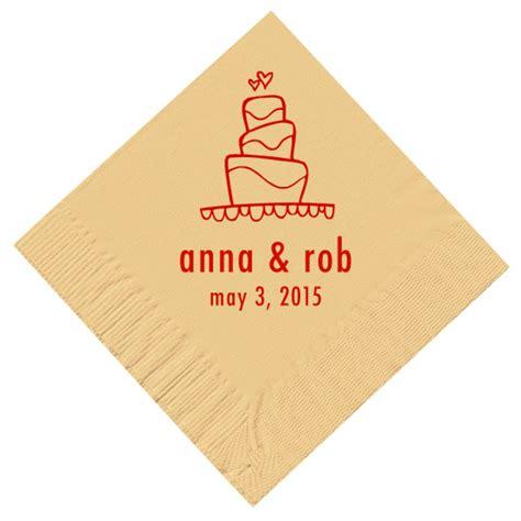 wedding cake napkins personalized wedding napkins wedding cake napkins