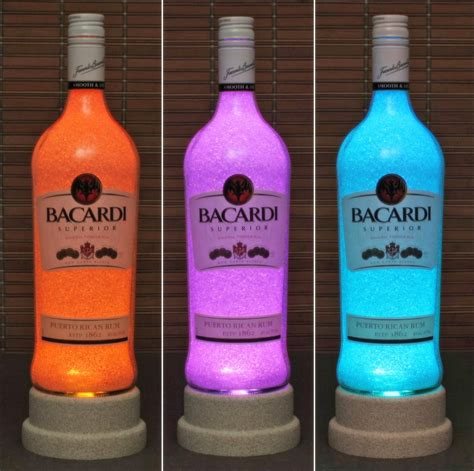 chagne bottle bacardi rum color changing bottle l bar light led
