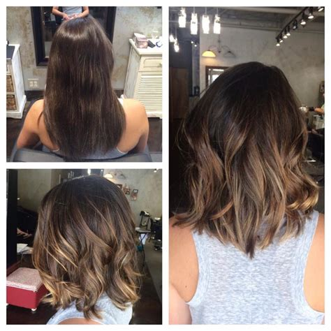 Pictures Of Diangle Bob With Ombre Color | long textured bob and balayage ombre highlights l hair