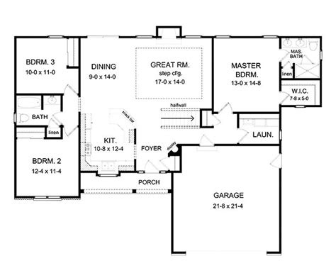 simple open floor house plans 3 bedroom ranch floor plans floor plans aflfpw75216 1 story ranch home with 3 bedrooms 2