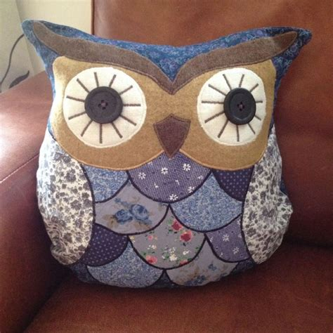 Patchwork Owl Cushion - blue owl patchwork cushion