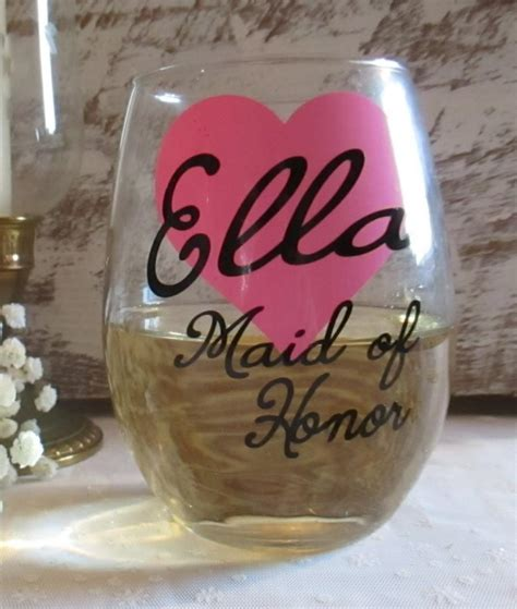 bridal shower gifts from of honor personlized wedding wine glass custom bridesmaid of honor matron of honor bridal