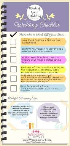 Wedding Checklist Last Week by 1000 Images About Wedding Planning Checklists For Brides