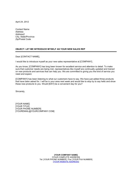 Introduction Letter For Scrap Company Let Me Introduce Myself As Your New Sales Rep Template Sle Form Biztree