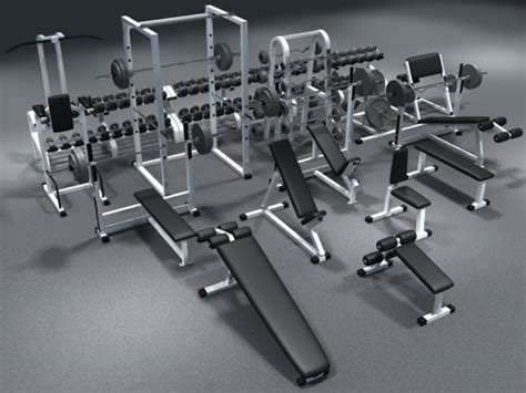 free weights and bench set weight set dumbbells bench 3d model