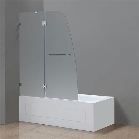 frosted glass bathtub doors aston soleil 48 in x 58 in completely frameless hinged