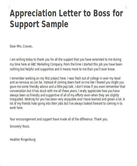 Support Appreciation Letter appreciation letter for appreciation