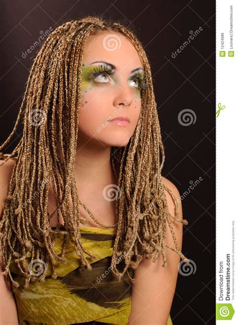 pictures of exotic braids girl with bright exotic makeup royalty free stock image