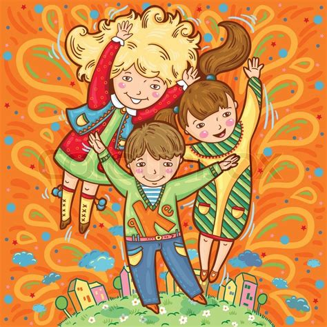 Gemalte Bilder Kindern by Gl 252 Ckliche Drei Kinder Auf Farbigen Hintergrund