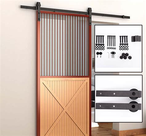Interior Sliding Barn Door Kits Homcom 6 6 Interior Sliding Wood Barn Door Track Kit Hardware Set Steel 220lbs Ebay