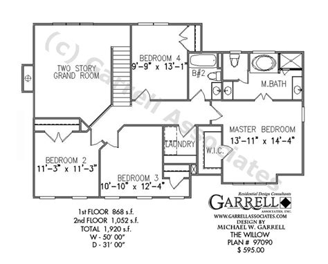 2 story house plans with master on second floor willow house plan house plans by garrell associates inc