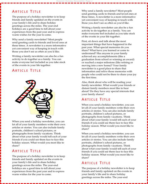 download holiday newsletter template for free page 2