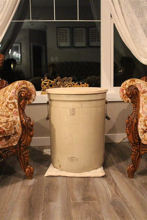 hometalk antique crock side table