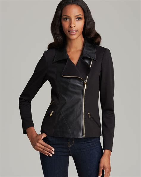 Calvin Klien Leather calvin klein faux leather front jacket in black lyst