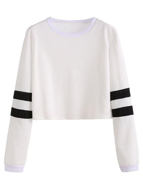 Crop Stripes Tees varsity striped sleeve crop t shirt shein sheinside