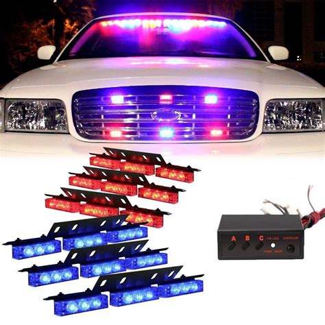police strobe lights for motorcycles red blue 54 led 6x 9led emergency warning car vehicle