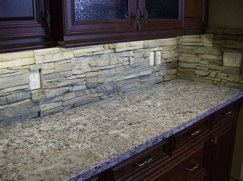 stacked stone kitchen backsplash rugged looking stacked stone backsplash for the home