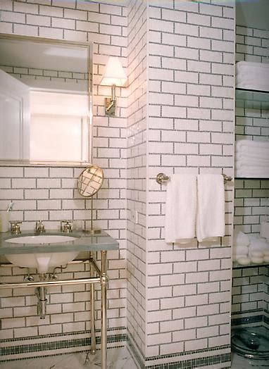 white tile dark grout bathroom bungalow blue interiors home