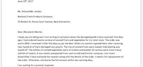 Complaint Letter Sle Damaged Goods Complaint Letter To Apartment Manager Writeletter2