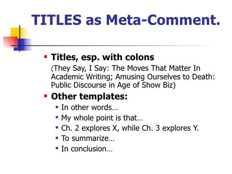 Templates X Tesol Ppt They Say I Say Chapter 4 Templates