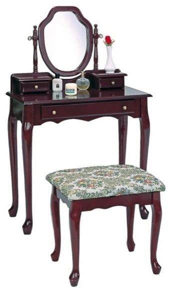 Large Vanity Set cherry finish wood bedroom vanity set with large drawer and 2 smaller drawers contemporary