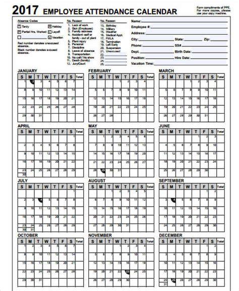 employee attendance calendar template 26 blank calendar templates