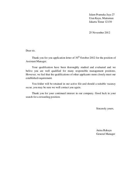Offer Letter Kerja Surat Penolakan Lamaran Kerja B Indo Dan B Ing