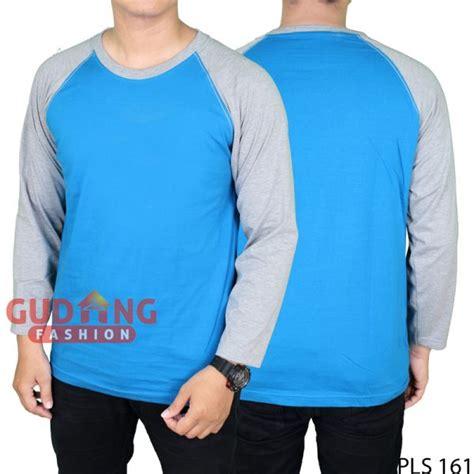 Kaos Raglan Panjang Fashion kaos raglan pria panjang modis cotton combed biru benhur