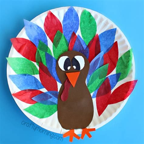 Paper Turkeys - paper plate turkey craft using tissue paper crafty morning