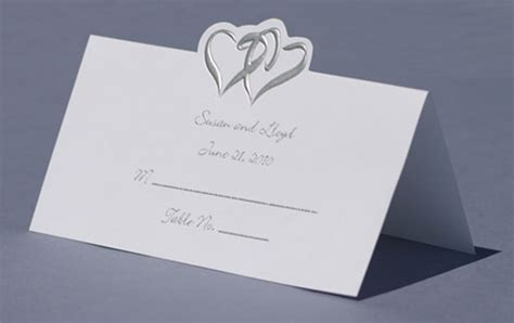 place cards wedding place cards silver double hearts table cards