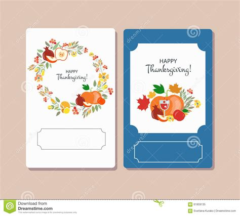 signature card template vector collection of labels and elements for thanksgiving