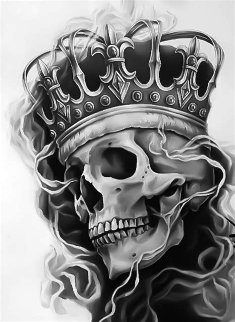 skull with crown design idea