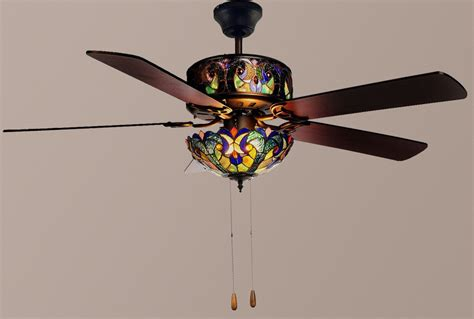 stained glass ceiling fan style 52 quot lit stained glass ceiling