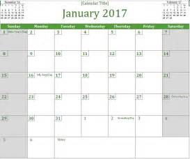 Monthly Excel Calendar Template by 2017 Monthly Calendar Excel Templates For Every Purpose