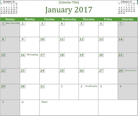 Calendar 2017 Excel Template 2017 Monthly Calendar Excel Templates For Every Purpose