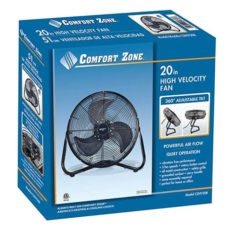 comfort zone fan comfort zone 20 inch high velocity cradle fan my cooling