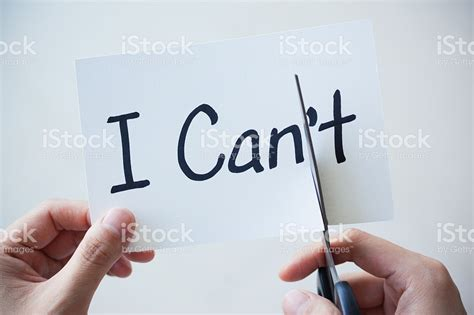i cant do this using scissors cut word on paper cant become i can stock photo 497657454 istock