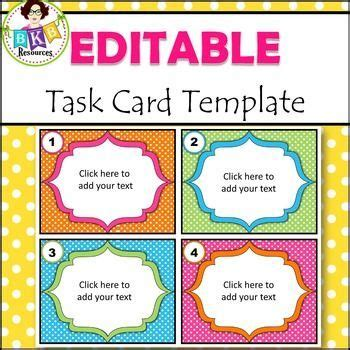 template for task cards doc recording sheets task cards and clip on
