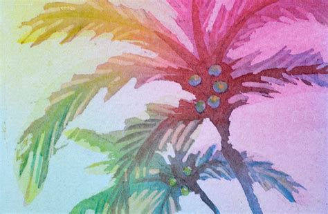colorful palm trees palm tree painting colorful watercolor p j cook